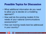 possible topics for discussion
