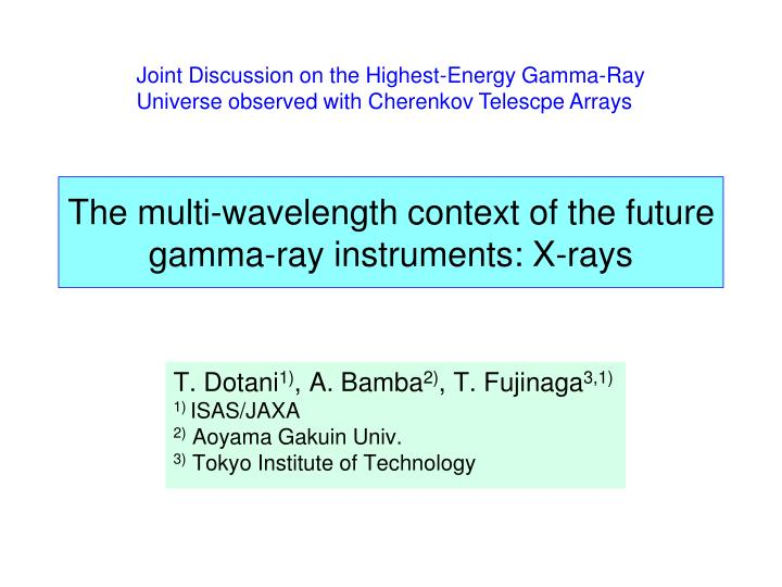 the multi wavelength context of the future gamma ray instruments x rays n.