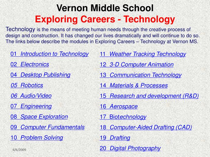 vernon middle school exploring careers technology n.