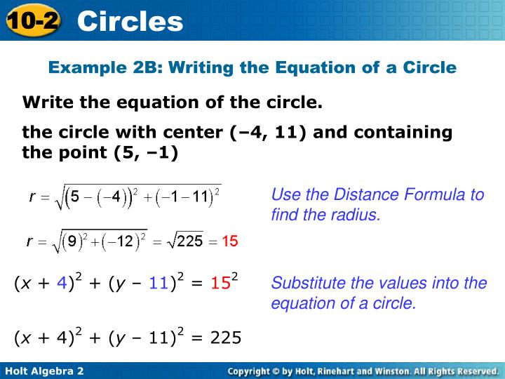 Example 2B: Writing the Equation of a Circle
