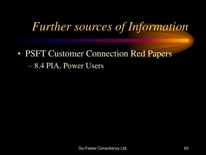 Further sources of Information