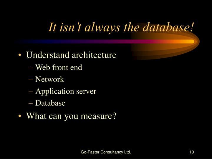 It isn't always the database!