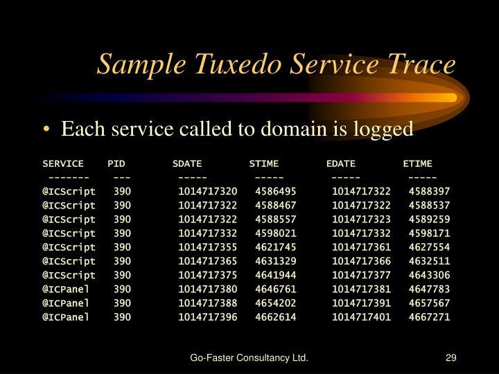 Sample Tuxedo Service Trace