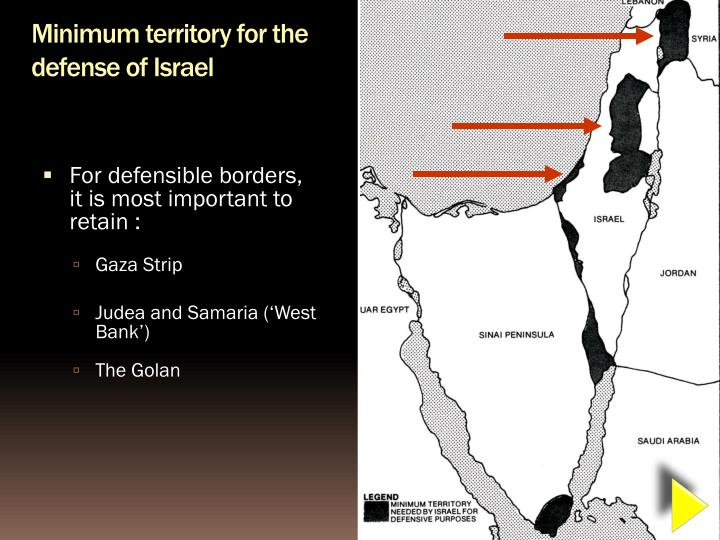 Minimum territory for the defense of Israel