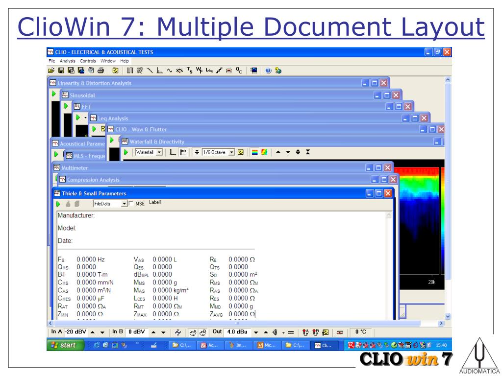 PPT - Audiomatica ClioWin 7 – Measurement System PowerPoint