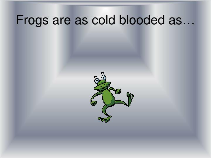 Frogs are as cold blooded as…