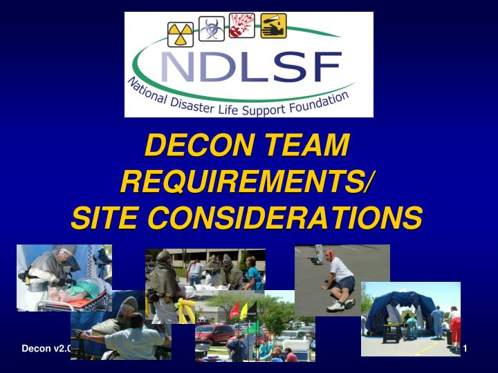 decon team requirements site considerations n.