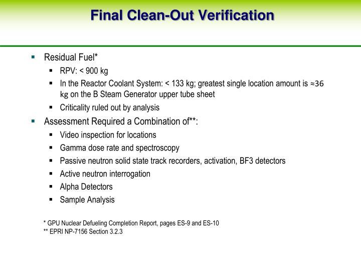 Final Clean-Out Verification