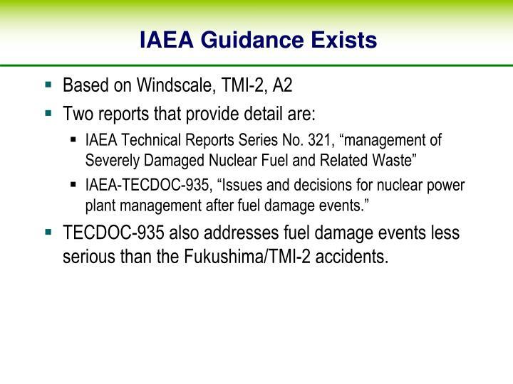 IAEA Guidance Exists