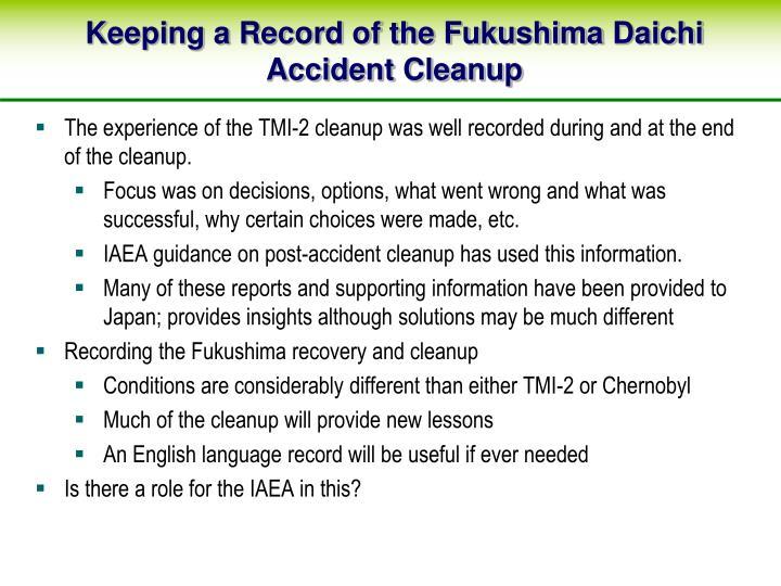 Keeping a Record of the Fukushima