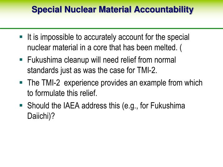 Special Nuclear Material Accountability