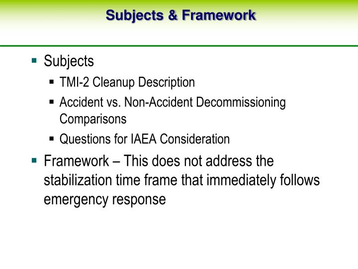 Subjects framework