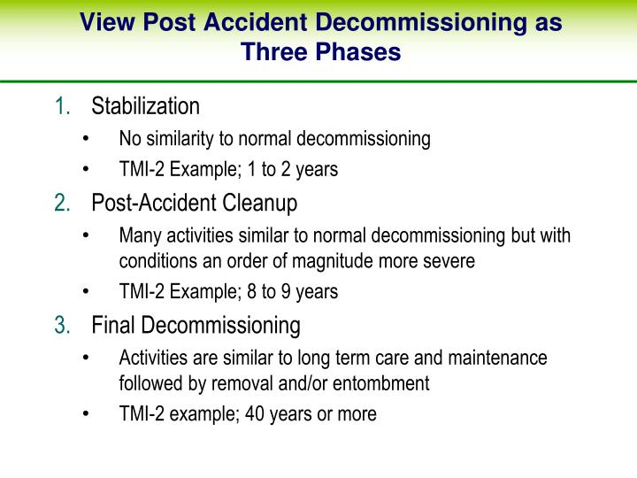 View Post Accident Decommissioning as Three Phases