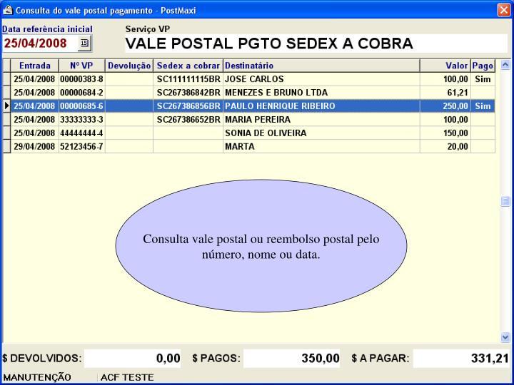 Consulta vale postal ou reembolso postal pelo