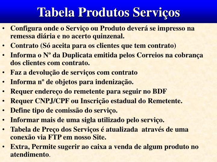 Tabela Produtos Serviços