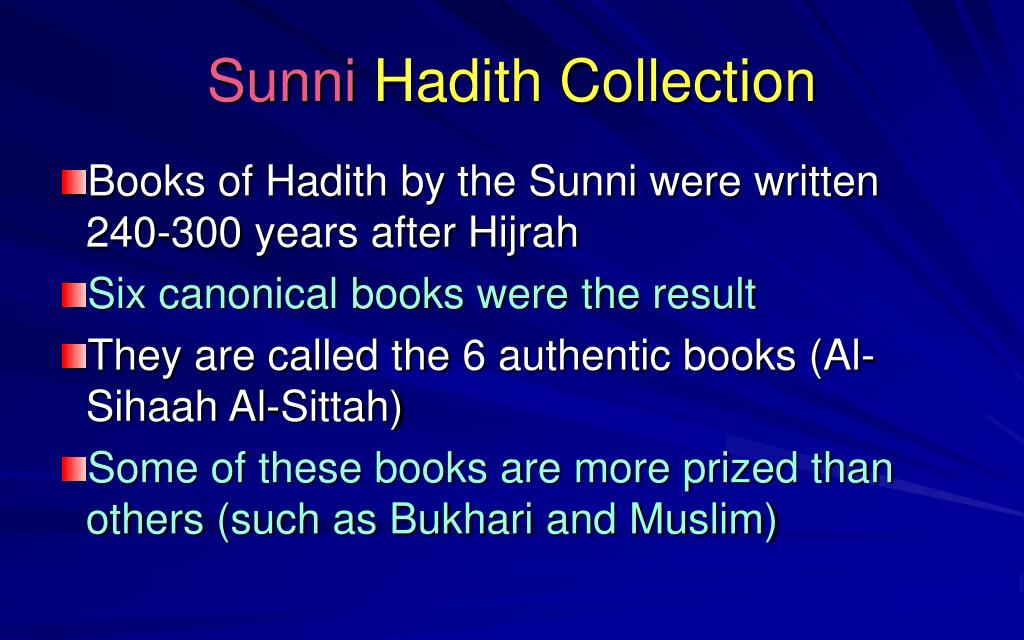 PPT - Hadith Collection, Sunni Version PowerPoint
