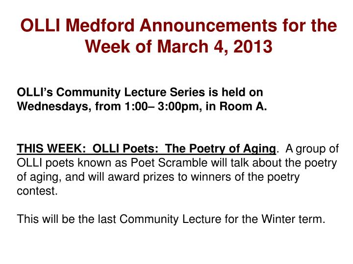 Olli medford announcements for the week of march 4 2013