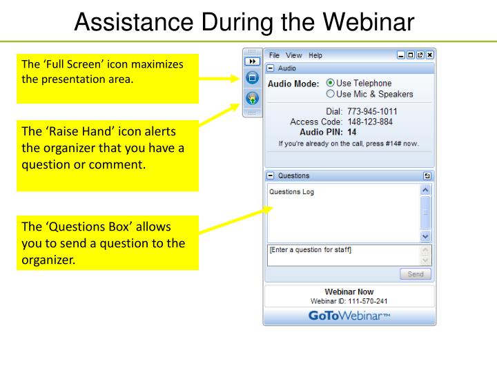 assistance during the webinar n.