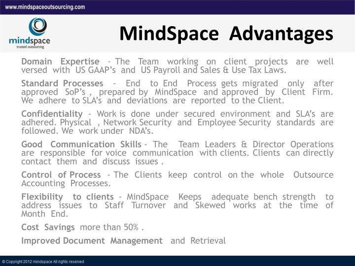 MindSpace  Advantages