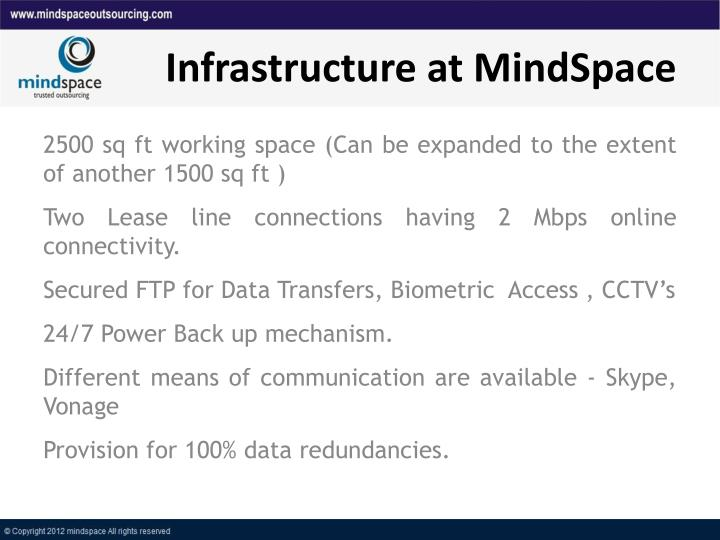 Infrastructure at MindSpace