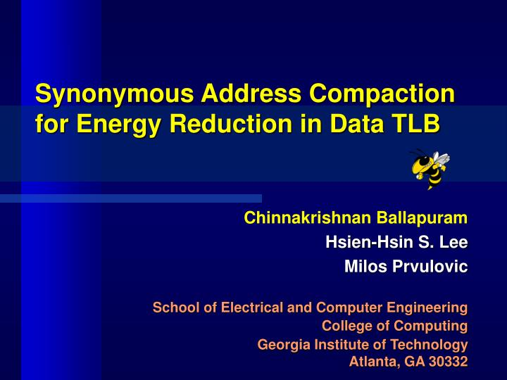 Synonymous address compaction for energy reduction in data tlb