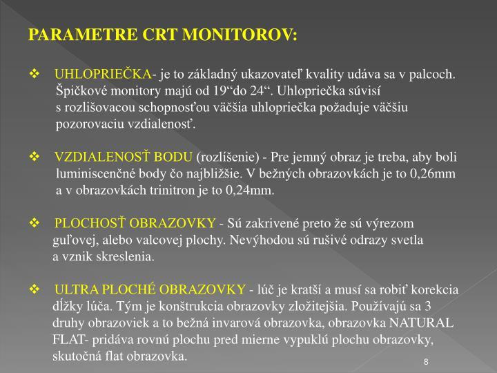 PARAMETRE CRT MONITOROV: