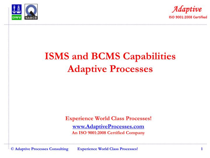 isms and bcms capabilities adaptive processes n.
