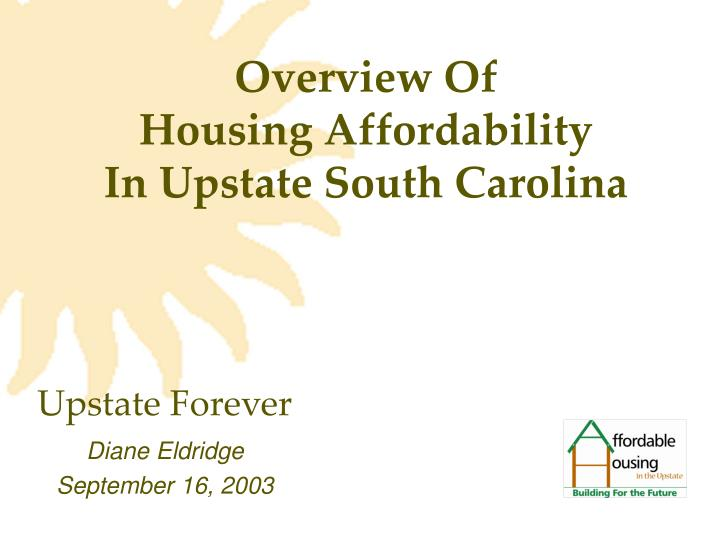 Overview of housing affordability in upstate south carolina