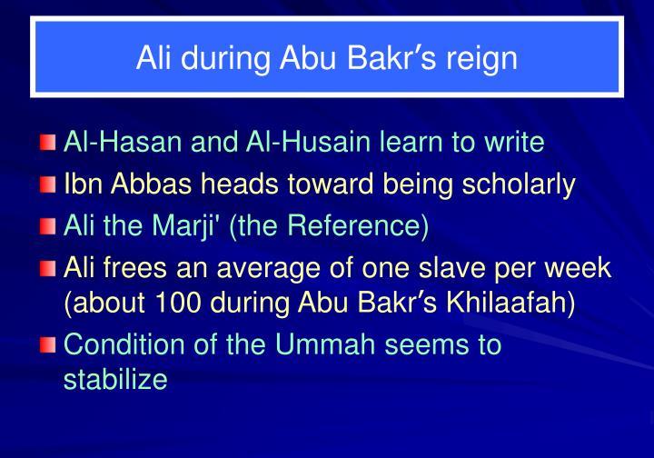 Ali during Abu Bakr