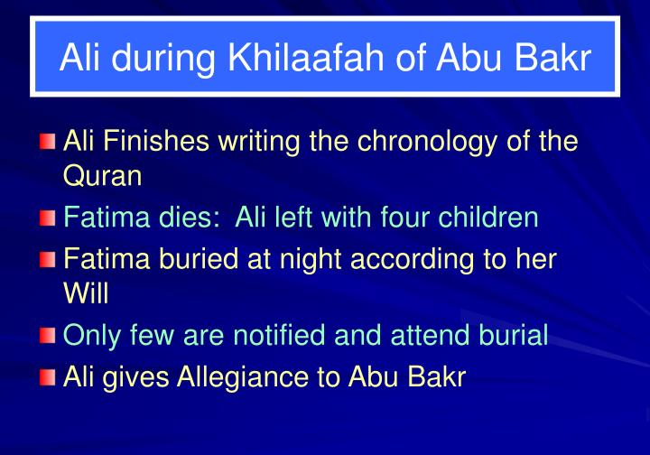 Ali during Khilaafah of Abu Bakr