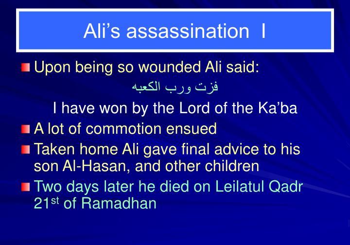 Ali's assassination  I