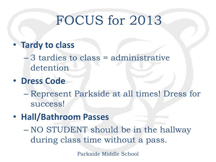 FOCUS for 2013