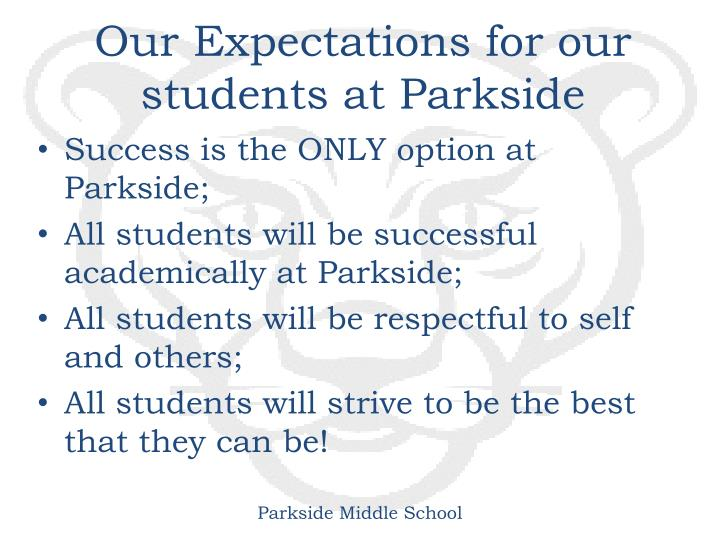 Our Expectations for our students at Parkside