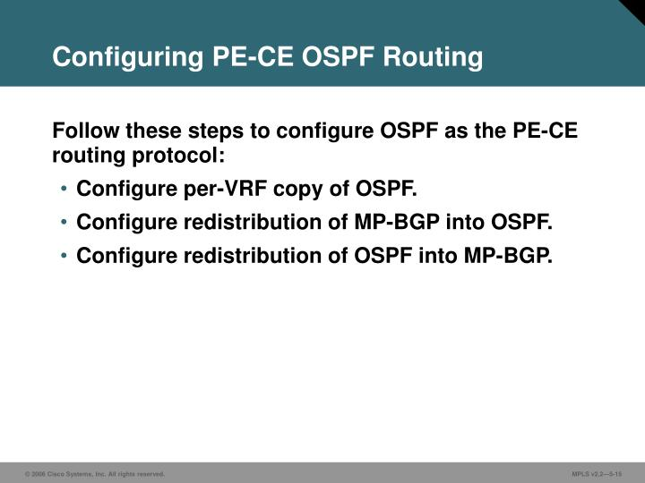 Configuring PE-CE OSPF Routing