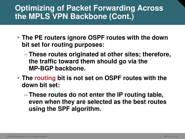 Optimizing of Packet Forwarding Across the MPLS VPN Backbone (Cont.)