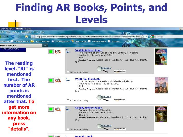 Finding AR Books, Points, and Levels