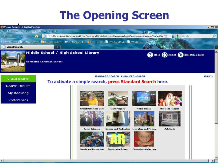 The Opening Screen