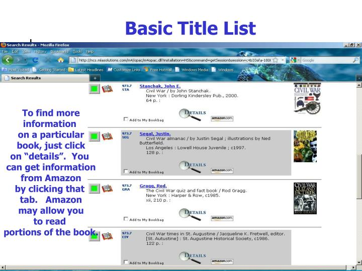 Basic Title List