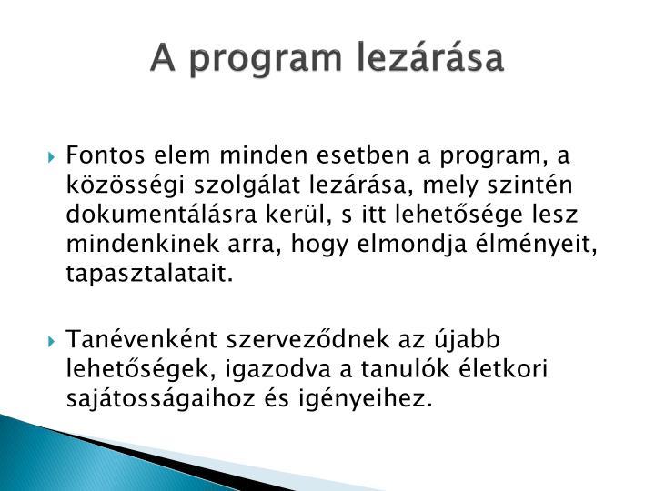 A program lezárása