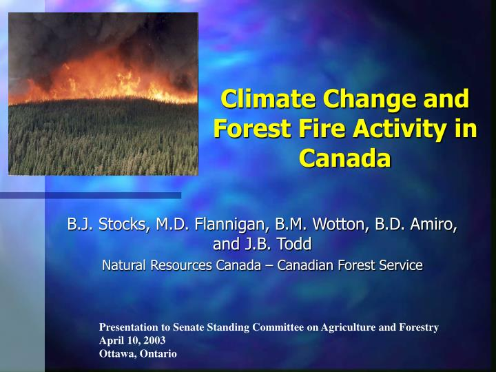 climate change and forest fire activity in canada n.