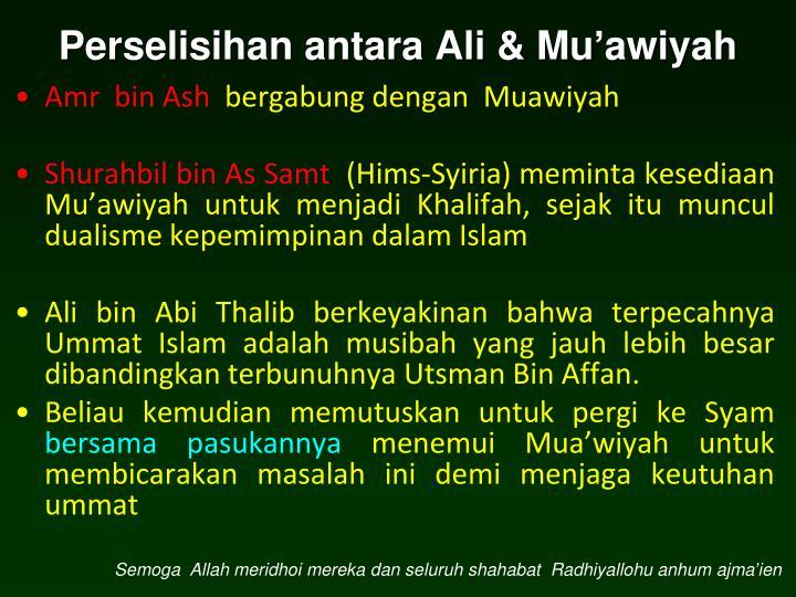 Perselisihan antara Ali & Mu'awiyah