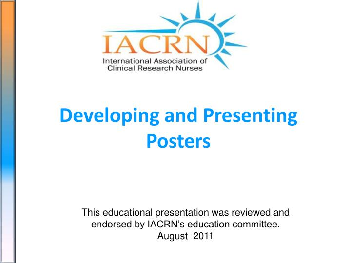 developing and presenting posters n.