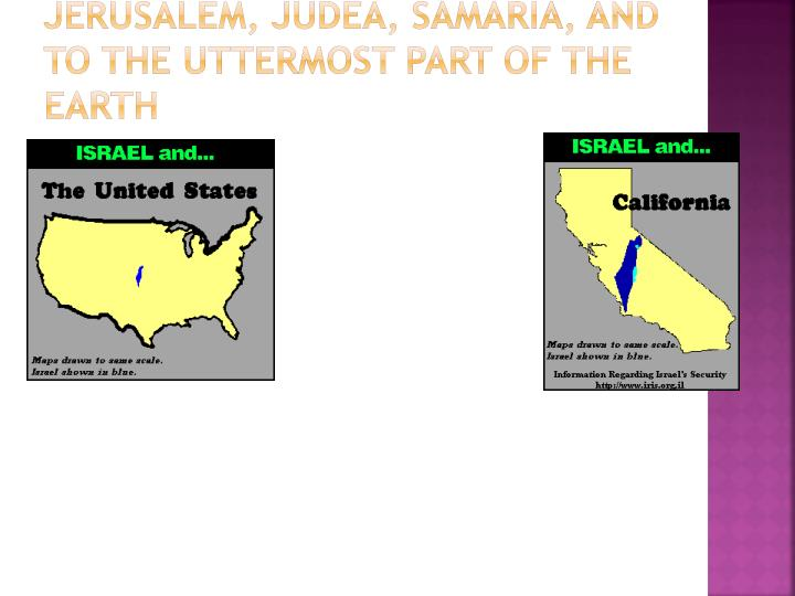 Jerusalem, Judea, Samaria, and to the Uttermost Part of the Earth