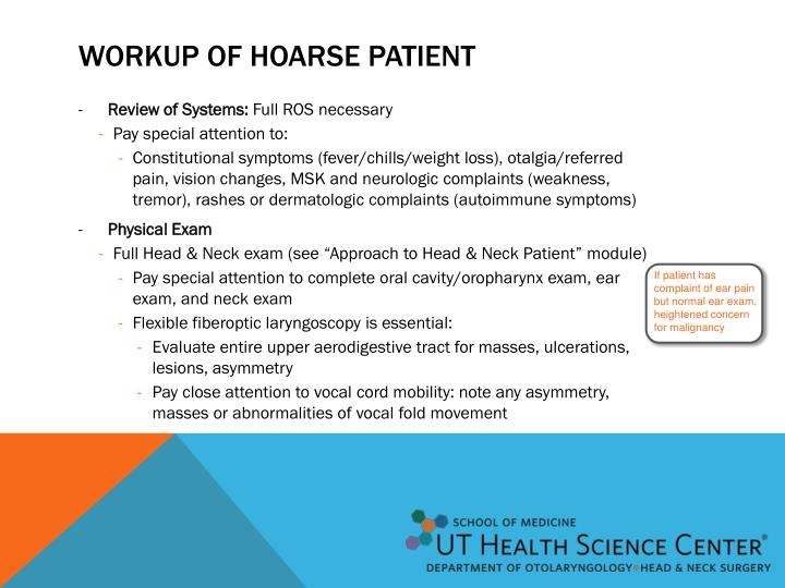 Workup of Hoarse patient