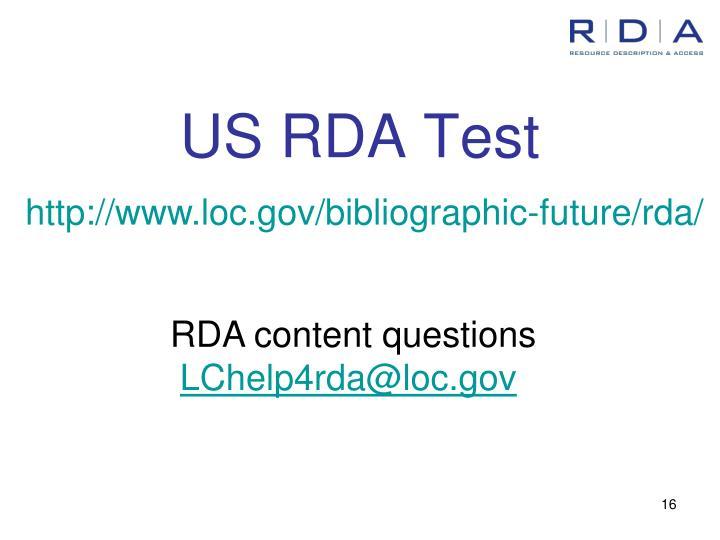 US RDA Test