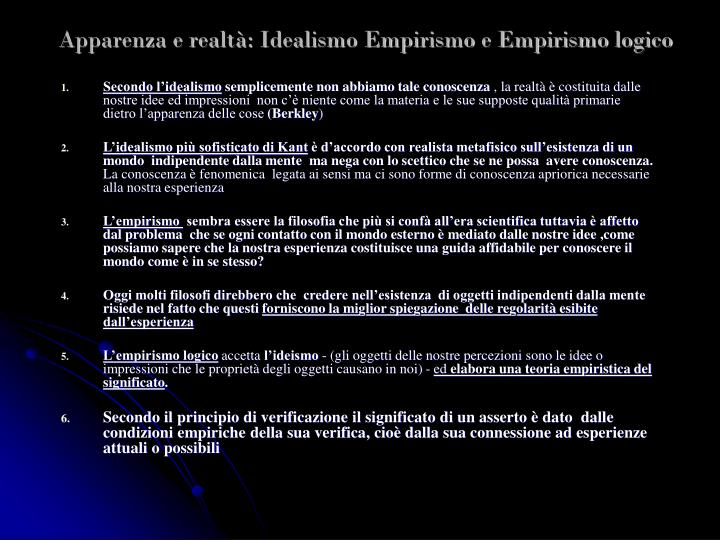 Apparenza e realtà: Idealismo Empirismo e Empirismo logico