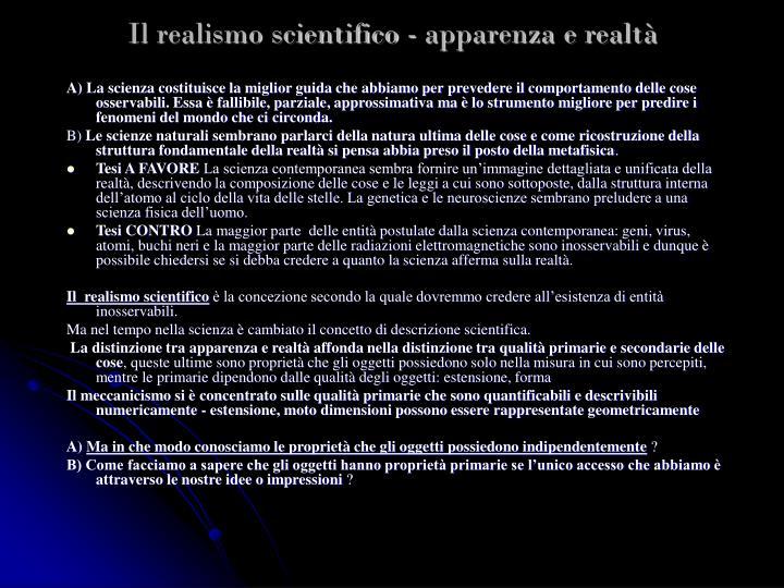 Il realismo scientifico - apparenza e realtà
