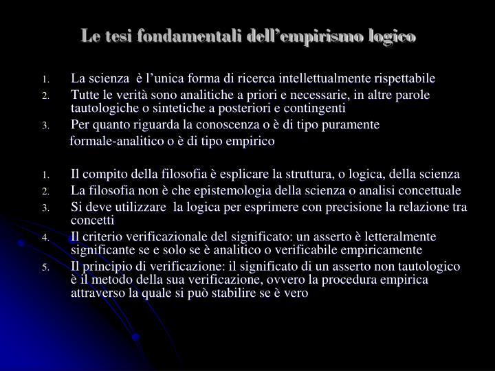 Le tesi fondamentali dell'empirismo logico