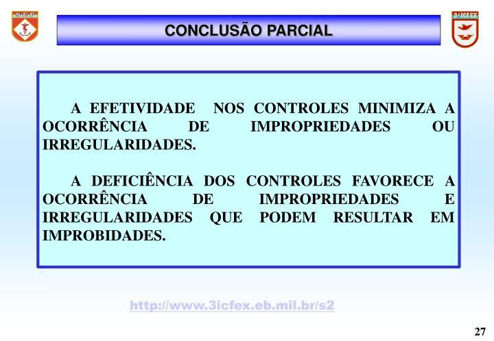 CONCLUSÃO PARCIAL