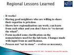 regional lessons learned